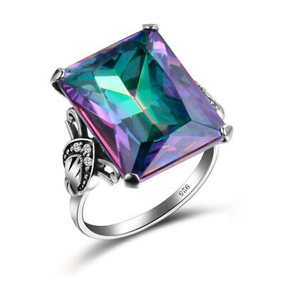 4.3CT Mystic Rainbow Topaz 925 Silver Engagement Jewelry Wedding Ring Size 6-10