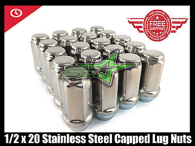 """24 Stainless Steel Capped Trailer Bulge Acorn Lugs 1/2-20 
