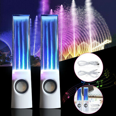 AU Water Dancing Speakers Audio Speaker USB POWERED LED DANCE Fountain PC iPod
