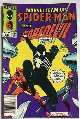 Marvel Team-Up #141 (1984)~Ties with Spiderman #252 as 1st Black costume. VF!