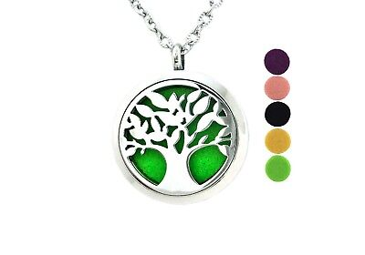 Tree  Essential Oil Diffuser Necklace Stainless Steel Women Stocking Stuffer