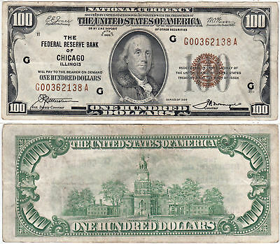 1929 $100 Federal Reserve Bank Of Chicago F-1890-G Very Fine