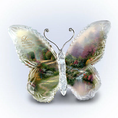 Love Butterfly Crystal Figurine Paperweight Thomas Kinkade Sculpture