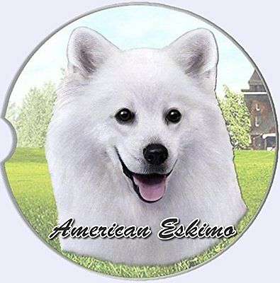 American Eskimo Car Coaster Absorbent Keep Cup Holder Dry Stoneware New Dog