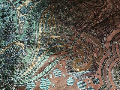 Pure silk green blue paisley pattern upholstery fabric
