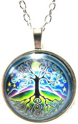 Tree Necklace Celtic Jewelry Sun Pendant Xmas Gift for Holiday Unique Blue Cool