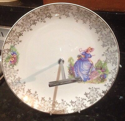 CRINOLINE LADY HANLEY ROYAL FALCON WARE  Cake Biscuit Plate With Handle, England