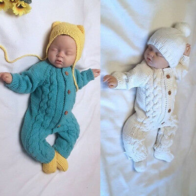 Newborn Baby Warm Unisex Long Sleeve Knitted Romper Bodysuit Jumpsuit Outfits