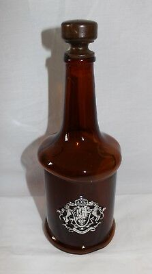 """Vintage Misshapen Brown Bottle with Wooden Stopper """"through hardships to the sta"""
