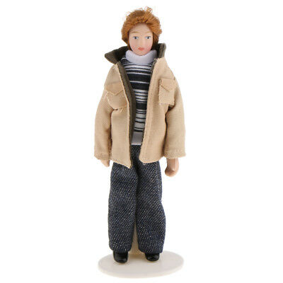 1:12 Dollhouse People Miniature Porcelain Man Doll Wearing Jacket with Stand