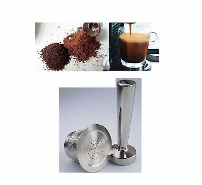 Steel Refillable Reusable Coffee Tea Capsules Pods FOR Nespresso Machine Tamper