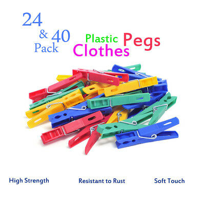 High Quality Plastic Clothes Pegs 24 40 Extra Strong Grip Washing Line laundry