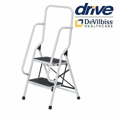 Portable Safety Ladder. Foldable Non-Slip Two Steps. Top and Side Handrails