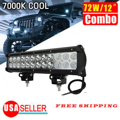 72W 12 inch Spot Flood Combo LED Work Light Bar Driving OffRoad SUV 4WD ATV Boat