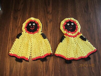 Vintage Black Americana Crocheted Hot Pads Pot Holders, Him & Her, 8 1/2""