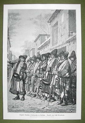 TURKESTAN former Russia Dervishes of Bokhara  - VICTORIAN Era Engraving Print