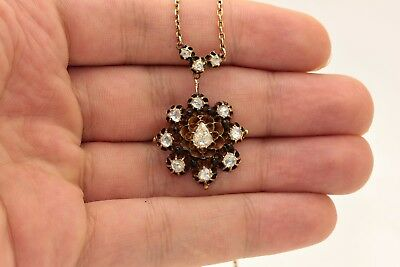 Antique Original Ottoman 14K Gold Enamel Diamond Amazing Necklase