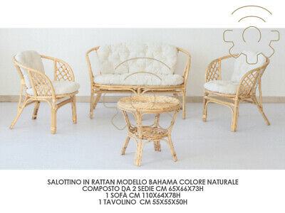 SET SALON JARDIN Bahama en Rotin Naturel 2 Fauteuils Sofa ...