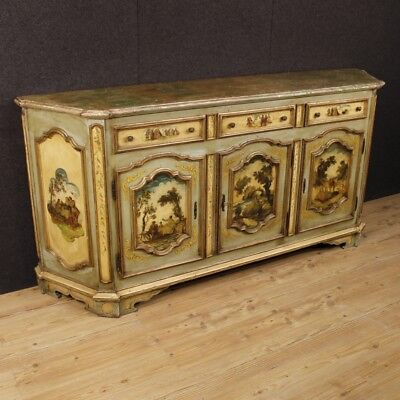 Venetian lacquered sideboard furniture painted wood 3 doors antique style 900