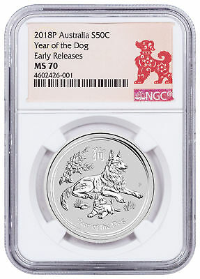 2018-P Australia Year of the Dog 1/2 oz Silver Lunar (S2) NGC MS70 ER SKU50368
