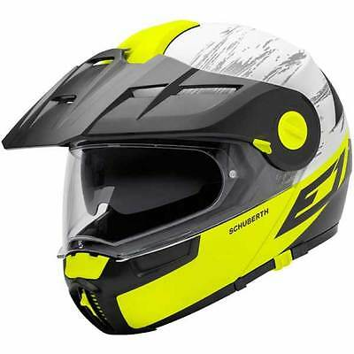 Schuberth E1 Crossfire Yellow Flip Front Up Adventure Touring Motorcycle Helmet