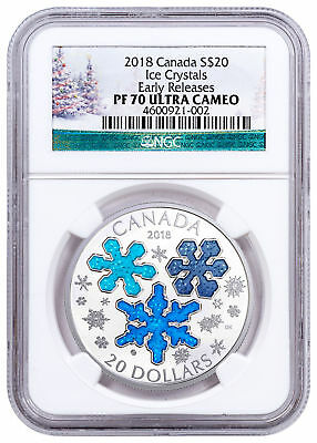 2018 Canada Ice Crystals 1 oz Silver Enameled Proof $20 NGC PF70 UC ER SKU49983