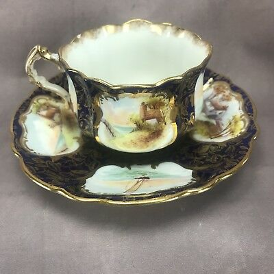 Hammersley English HP Harbor Scene Medallions Cobalt & Gold Teacup Set (13399)