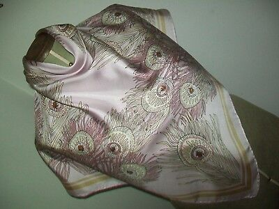 Fabulous Delicate Baby Pink Peacock Feather Design Vintage Silk Scarf