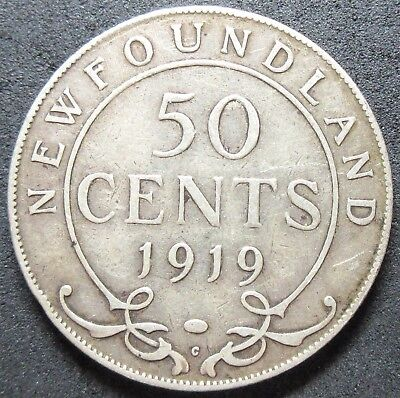 1919-C Newfoundland Canada Silver Fifty Cent Coin