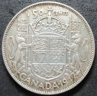 1947 Canada Maple Leaf Straight Seven Silver Fifty Cent Coin