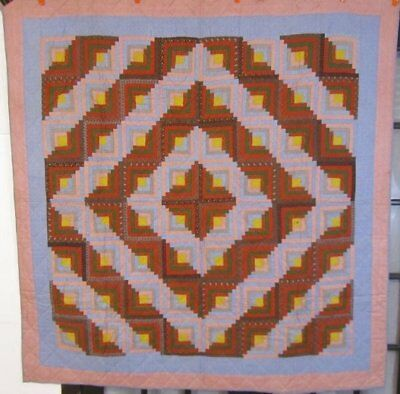 """Lincoln Logs ! c 1870s Log Cabin ANTIQUE Quilt   """"A Christmas Favorite"""" Madders"""