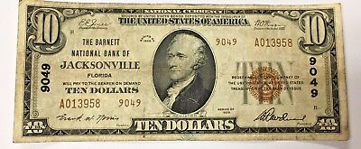 1929 $10 The Barnett National Bank of Jacksonville Florida #9049 A013958