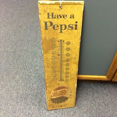 "1960s ""Have a Pepsi"" Cola AAW Yellow Thermometer Embossed Bottle Cap M-165"