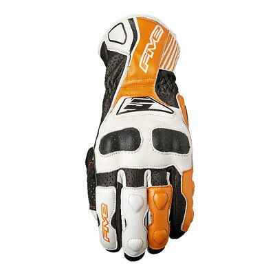 Five RFX4 Replica White / Orange Motorcycle Leather Sports Gloves All Sizes