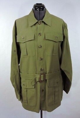 Orvis Green Quilted Men Jacket With Belt Size XL