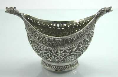 Antique 19th century Anglo Indian Kutch silver condiment bowl salt cellar