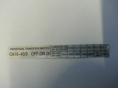40A AC Transfer Changeover Switch 3 pole 3 position on/off/on Selector Phase 3ph