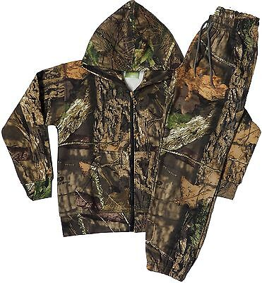Kids Jungle Print Camouflage Tree Combat Sweat Hooded Top And Jogging Bottom Set