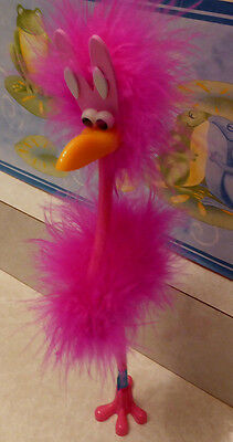 """10"""" WACKY Pink FEATHERS FLAMINGO BUNNY FUNNNY WRITING INK PEN EASTER"""