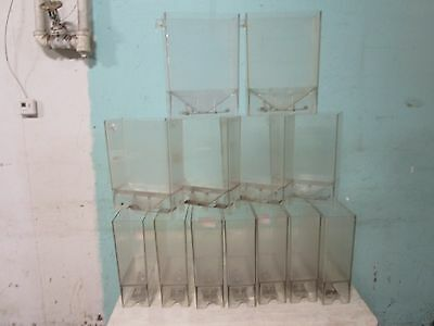 Lot Of (13) H.d. Commercial Acrylic Bulk Coffee Beans/grains Display Dispenser