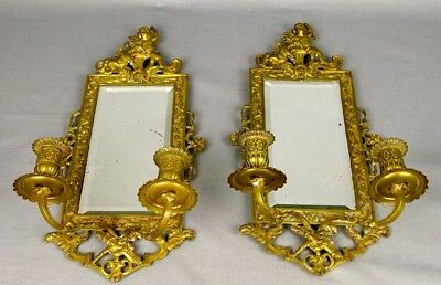 Pr Antique Detailed Brass  Beveled Glass Mirror Candle Wall Sconces