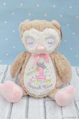 Personalised  gift Owl Teddy Bear Gift, flower girl   new baby christening gift