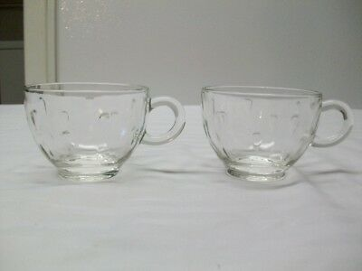 2 Vintage Indiana Glass Co.Crystal Teardrop Punch Cups