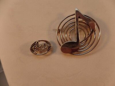 (2) Vintage Sterling Silver 925 Jewelry Sterling Music Note pin, Brooch # S 1214