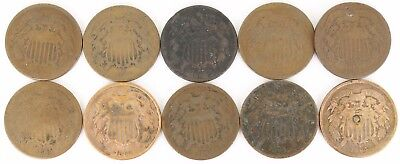 Lot of 10 1864-1865 Two Cent Copper Piece 2C
