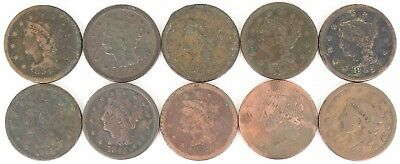 Lot of 10 Mixed Date Coronet Head & Braided Hair Large Copper Cents 1C