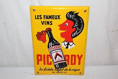 "Vintage 1950's Picardy Wine Beer Soda Pop Gas Oil 13"" Porcelain Metal Sign~Nice"