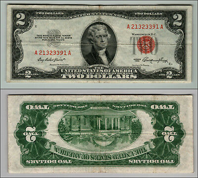 1953 $2 Dollar Bill Old Us Note Legal Tender Paper Money Currency Red Seal P118