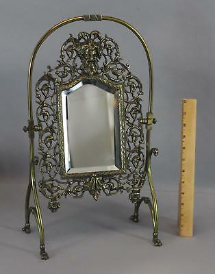 Antique 19thC Aesthetic Brass Table Mirror, Gothic Pan, Bacchus, Devil Head NR