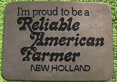 Vintage 1982 *Proud To Be A Reliable American Farmer* New Holland Tractor Buckle
